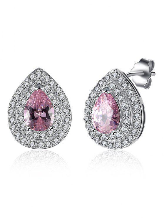 womens S925 Diamond Teardrop Earrings - PINK