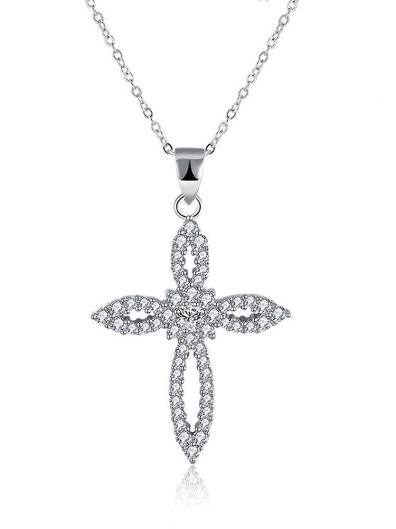Colar de diamante S925 Crucifixo Flower - Prata