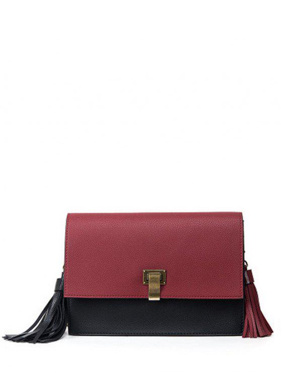 latest Chain Tassels Metal Crossbody Bag - CLARET