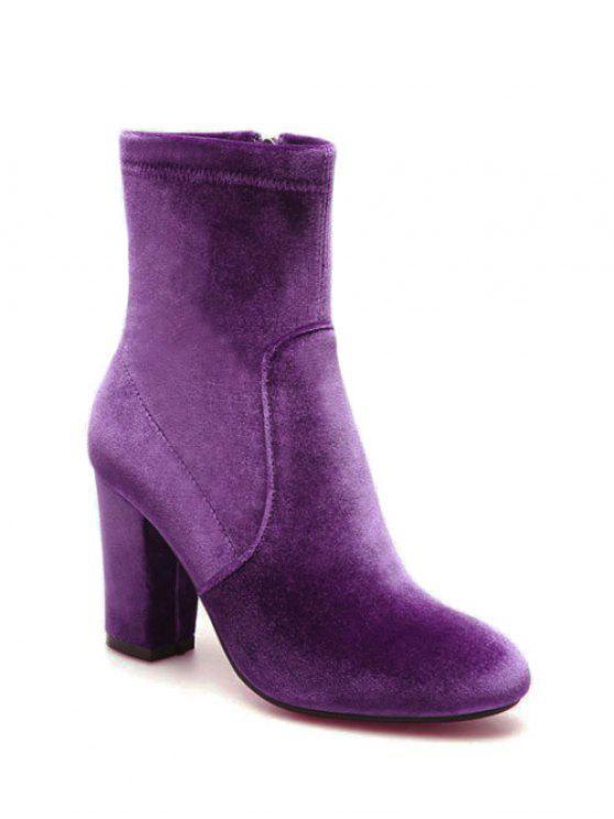 Chunky Heel Velvet Sock Boots PURPLE: Boots 39 | ZAFUL
