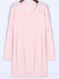 V Neck Batwing Sleeve Sweater - Pink Xl