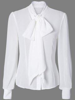 Pussy Bow Semi Sheer Blouse - White M