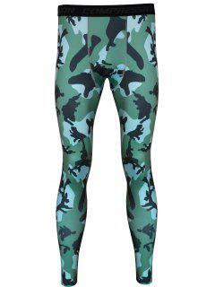 Pantalons Gym Camouflage Imprimé Skintight Quick-Dry - Vert D'armee Camouflage L