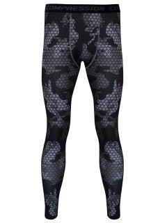 Los Pantalones De Gimnasia A Cuadros Impresos Skintight De Secado Rápido - Gris S