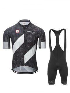 Actif Noir Cuissard + Manches Courtes Polka Dot Vélo Jerseys Twinset Pour Les Hommes - Noir L