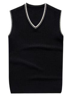 V Neck Contrast Trim Knitted Vest - Black M