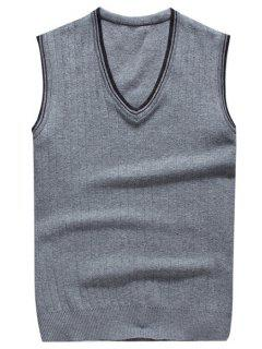 V Neck Contrast Trim Knitted Vest - Light Gray M