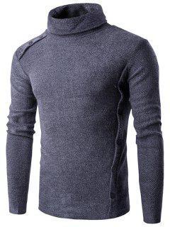 Asymmetric Adorn Button Turtleneck Sweater - Gray M