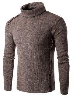 Asymmetric Adorn Button Turtleneck Sweater - Coffee L