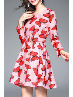 Suede A Line Butterfly Dress - Shallow Pink S