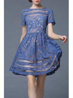 Lace Sheer Swing A Line Dress - Peacock Blue S