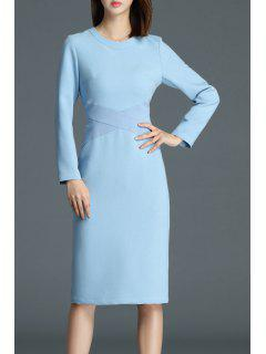 Patchwork Knee Length Sheath Dress - Blue L