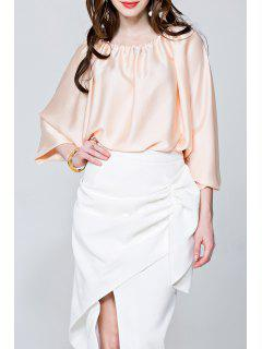 Convertible Slash Neck Satin Bluse - Aprikose S