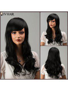 Siv Long Shaggy Side Bang Wavy Human Hair Wig - Jet Black 01#