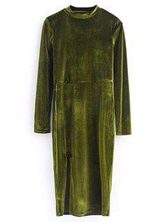 Velours Vintage Robe Fendue - Olive Verte S