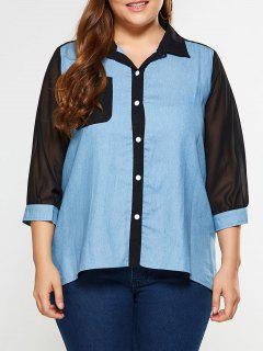 Plus Size See Thru Chambray Shirt - Denim Blue 4xl