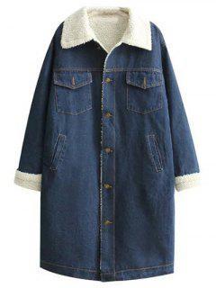 Turndown Collar Faux Shearling Jean Coat - Denim Blue S