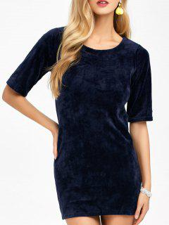 Round Neck Velvet Bodycon Mini Dress - Deep Blue S