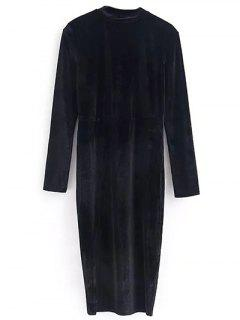 Vintage Velvet Slit Dress - Black S
