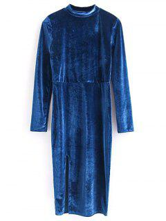 Vintage Velvet Slit Dress - Blue M