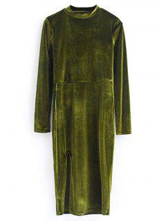 Vintage Velvet Slit Dress - Olive Green M