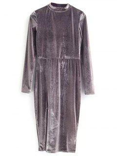 Vintage Velvet Slit Dress - Gray S