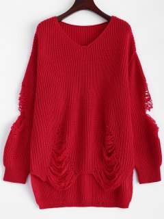 Loose Pullover Distressed  Sweater - Red Xl