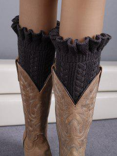 Ruffled Knit Boot Cuffs - Deep Gray