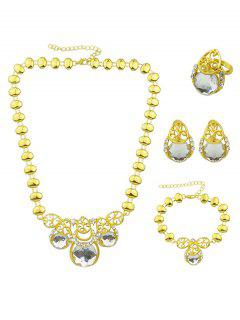 Faux Gem Necklace Earrings Bracelet And Ring - White