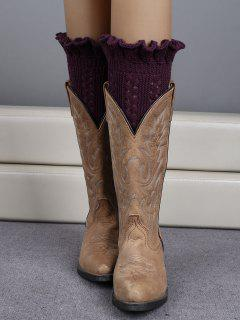 Ruffled Knit Boot Cuffs - Deep Purple