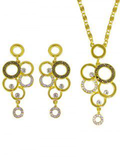 Rhinestoned Round Necklace And Earrings - Golden