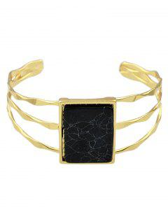 Layered Natural Stone Geometric Cuff Bracelet - Black