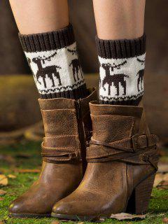 Christmas Deer Boot Cuffs - Deep Gray