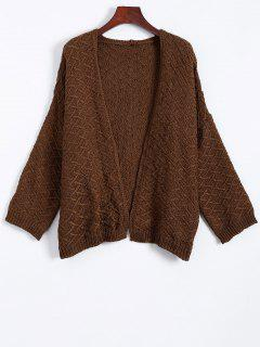 Argyle Collarless Cardigan - Coffee