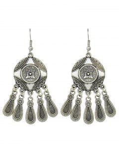 Engraved Flower Pattern Chandelier Earrings - Silver