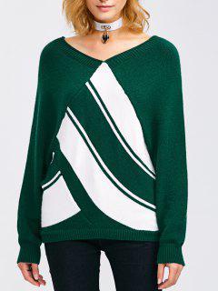 Raglan Sleeve V Neck  Pullover Sweater - Blackish Green Xl