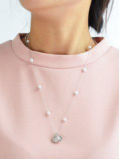Rhinestoned Collar De Concha Perla Artificial -