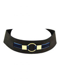 PU Leather Velvet Circle Choker Necklace - Blue