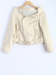 Off Shoulder Zippered Biker Jacket - Off-white Xl