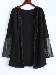 PU Leather Insert Long Sleeve Cardigan - Black S