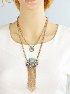 Artificial Turquoise Rhinestone Geometric Layered Necklace - Golden
