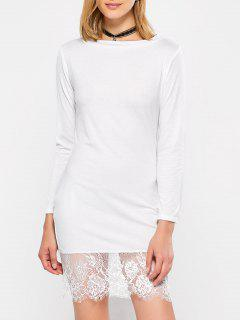 Lace Spliced Slash Neck Dress - White M