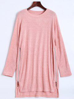 Side Zipper Sweater Dress - Pink S