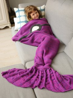 Knitted Sleeping Bag Mermaid Blanket - Violet Rose