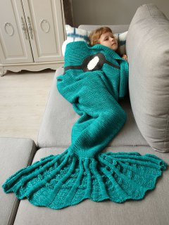 Knitted Sleeping Bag Mermaid Blanket - Green
