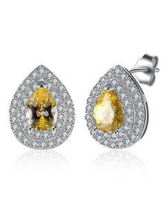 Teardrop S925 Diamond Earrings - Yellow