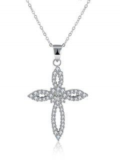 Flower Crucifix S925 Diamond Necklace - Silver