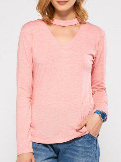 Cut Out Stand Neck Top - Pink L