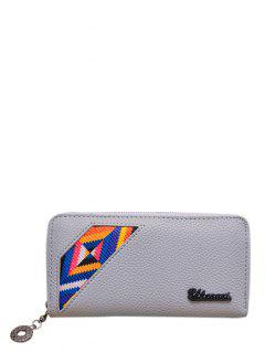 Geometric Pattern Textured Leather Colour Block Wallet - Light Gray