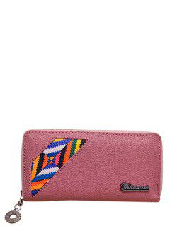 Geometric Pattern Textured Leather Colour Block Wallet - Deep Pink
